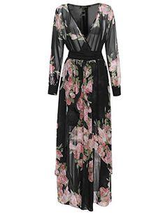 Plus Size Bohemian Floral Long Sleeve Maxi Wrap Dress Bla…