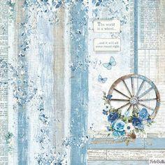 scrapbooking paper pads 12 x 12 blue Decoupage Printables, Printable Scrapbook Paper, Printable Paper, Cardboard Box Crafts, Paper Crafts, Vintage Cards, Vintage Paper, Collages D'images, Decoupage Vintage