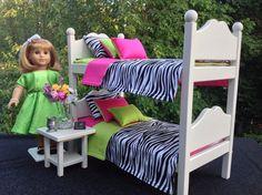 Zebra, Lime Green, Pink Bunk Beds For 18 In American Girl Doll