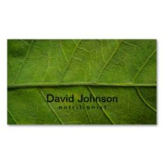Green Leaf Texture Nutritionist Business Card. This is a fully customizable business card and available on several paper types for your needs. You can upload your own image or use the image as is. Just click this template to get started!