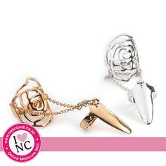 Rose Midi and Nail Ring duo available in silver and gold