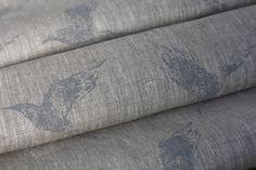 Dew Blue Bollin Bird on natural  #linen #grey linen #fabric #grey fabric #designer linen #designer fabric #coastal fabric #bird fabric