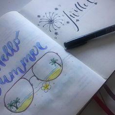 bujo bullet journal. juillet july. Summer été. Calligraphie lettering. Art watercolor aquarelle. Tombow