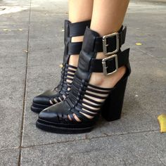 at Nasty Gal // black strappy shoes