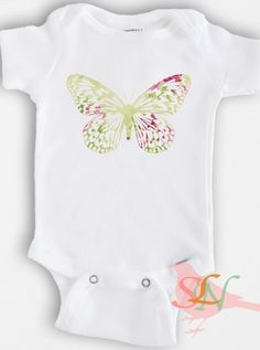 Cute baby Onesie Bodysuit - Baby Girl Clothing - Butterfly - Sizes Newborn to 12 Months