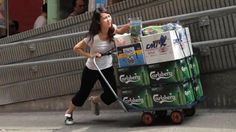 Carlsberg beer is being promoted in Hong Kong with an advertising campaign celebrating people who stand up and do the right thing. Nine different cameras were used to capture the response of the public to four scenarios: a woman pushing a barrow up a hill, a drunk driver attempting to unlock his car, a group of mean men blocking a bridge to pedestrians, and a waitress unaware of an embarrassing tail.Carlsberg Slope