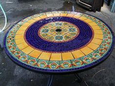 Yellow and Blue Mosaic Table
