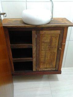 Balcão de banheiro madeira de demolição