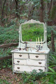 Dresser with Mirror by junkdrawerdivas on Etsy, $850.00