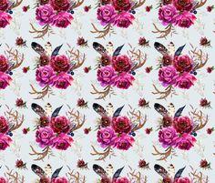 Bohemian Holidays - Light Grey fabric by shopcabin on Spoonflower - custom fabric