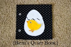 """peek a boo chick.     (To make the pages """"crinkle"""" cut a cereal bag to size and place it between the pages before you sew the book together)"""
