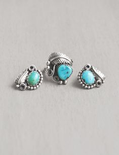 Vintage Turquoise Jewelry Set - sterling silver stud earrings and ring set - dot leaf scroll accents by CuriosityCabinet on Etsy
