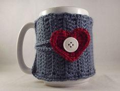 Valentines Day Crochet Country Blue Coffee Mug Cozy