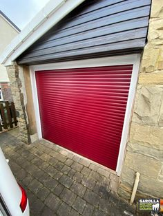 Roller Garage Doors in Red make any garage stand out! To find out more about our Roller Garage Door prices or read about our Roller Door service, click the link below. Red Garage Door, Garage Door Rollers, Single Garage Door, Garage Door Makeover, Garage Walls, Roller Doors, Roller Shutters, Red Interior Design, Garage Doors Prices