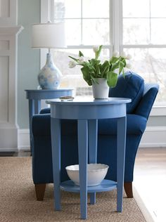 Charlie Side Table in Vast Sky | Maine Cottage #colorfulfurniture