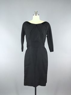 Vintage 1950s Black Taffeta New Look Dress
