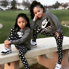 Image may contain: 2 people, people sitting, shoes and outdoor - - #SchoolOutfits Cute Mixed Babies, Cute Black Babies, Beautiful Black Babies, Cute Twins, Beautiful Children, Cute Babies, Black Kids Fashion, Cute Kids Fashion, Little Girl Fashion