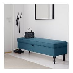 IKEA - STOCKSUND, Bench, Ljungen blue, black, , Storage space under the seat. The lid stays open so you can safely and easily take things in and out.A good-looking and practical bench that gives a warm, cozy feeling. Works well in the living room, hallway or bedroom.The cover is easy to keep clean as it is removable and can be machine washed.Tailored cover in a durable yarn-dyed cotton and polyester blend with fine details such as two-tone effect, piping and pleats.10-year limited warranty…