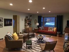 Our mid century modern living room. We put the recessed lights in this weekend!