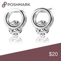 Floating open circle stud earring 18k white gold plated, Round stud earring Diane Loren Jewelry Earrings