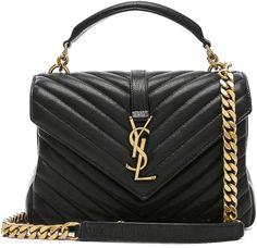 Saint Laurent Medium Monogramme College Bag in Black Ysl Handbags, Luxury Handbags, Purses And Handbags, Leather Handbags, Leather Totes, Cheap Handbags, Brown Handbags, Coach Handbags, Sac Yves Saint Laurent