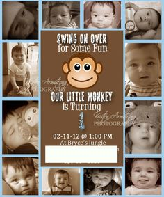 First Year Birthday Announcements  Monkey by kris10armstrong, $30.00