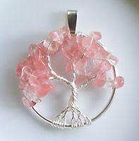 Handmade Wire Wrap Tree of Life Necklace Pendant Cherry Blossom Quartz Silver