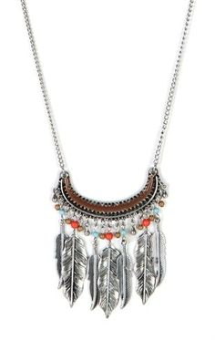 Deb Shops Long Necklace with Beading and Leaves