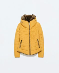 ZARA MUSTARD YELLOW QUILTED PADDED WINTER JACKET FUR COLLAR SIZE L LARGE