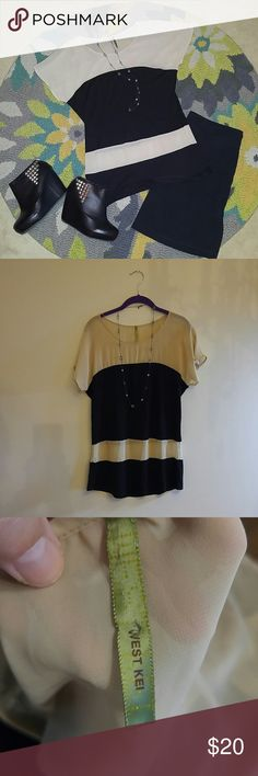*DONATING 10/31*Anthropologie West Kei top This top is so beautiful! Sheer beige and viscose and spandex black stripes top by West Kei for Anthropologie. This top is so perfect for so many different occasions! Anthropologie Tops Blouses