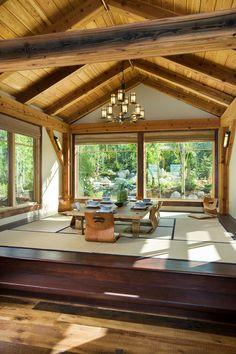 Floor Seating Dining Table Wood Floor Tatami Big Window Unique