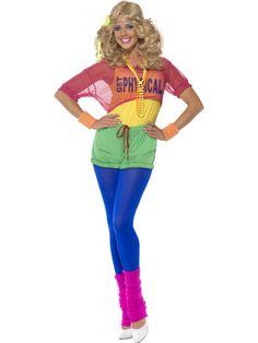 Fancy Dress Smiffys 1980s Ladies Neon Leopard Print Leggings