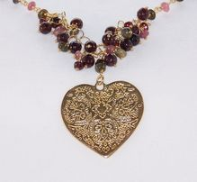 "24K Gold Vermeil Garnet, Tourmaline Heart Cluster Necklace 20"" - Jewelry Gift for Her"
