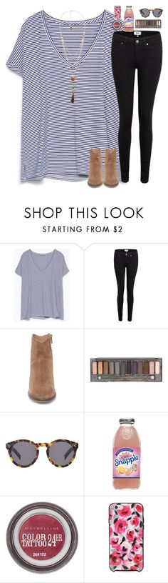 """""""5 more hours in the car!"""" by madison426 ❤ liked on Polyvore featuring Zara, Paige Denim, Steve Madden, Urban Decay, Illesteva, Maybelline, Kate Spade and Violeta by Mango"""