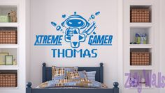 Check out this item in my Etsy shop https://www.etsy.com/listing/205868035/xtreme-gamer-custom-name-vinyl-wall