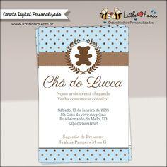 Convite Chá de Bebê Provençal Ursinho Digital