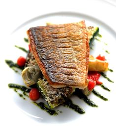 William Drabble's griddled sea bass recipe presents a fabulously colourful way to enjoy this flavourful fish - Tap the link to see the newly released collections for amazing beach bikinis! :D