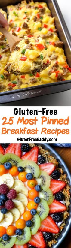 - 25 Most Pinned Gluten-Free Breakfast Recipes - Now you can eat gluten-free pancakes, muffins, tarts, breakfast cookies, doughnuts and more.