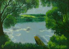 Мостик, пейзаж, озеро