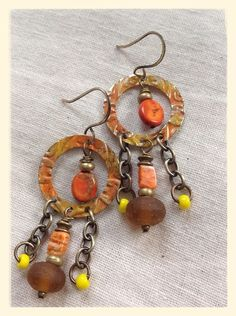 Orange Spiny Oyster, Jasper, Brown Recycled Glass Earrings