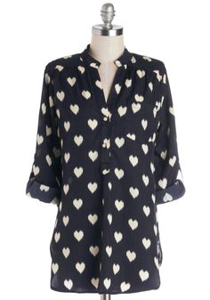 Love Ballad Tunic in Navy. What ever happened to long-awaited dates? #blue #modcloth