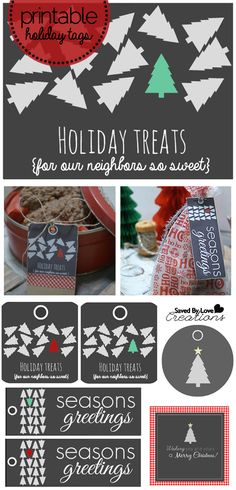Neighbor Gift Modern Free Printable Set Holiday Tags and fabulous recipes for a #Christmas baked goods gift from @savedbyloves