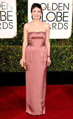 Maggie Gyllenhaal takes a fashion risk in this strapless Miu Miu number!