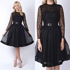 Vintage 60s 70s Black Floral Lace Cocktail Dress Illusion Pleat Sheer Mad Men XS | eBay