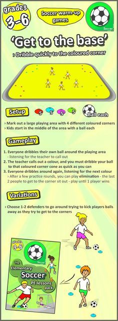 Soccer warm up game for grades 3-6 - Teaching ideas, activities, lesson plans