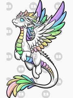 'Rainbow Angel Dragon' Sticker by Rebecca Golins Drawing Tips dragon drawing Easy Dragon Drawings, Cute Dragon Drawing, Dragon Sketch, Easy Drawings, Cute Dragon Tattoo, Angel Drawing, Cute Animal Drawings, Kawaii Drawings, Art Drawings Sketches