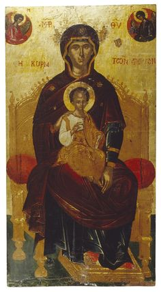 Unknown Icon: The Virgin Enthroned, called the Lady of the Angels Mediterranean, Late century Madonna, Padre Celestial, Persian Motifs, Russian Icons, Religious Paintings, Best Icons, Byzantine Icons, The Monks, Catholic Art