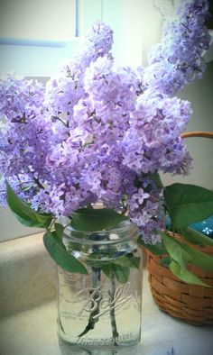 Lilacs in a jam jar - love these.  Shame our wedding is in the wrong season!