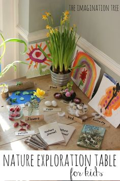 How about a little bit of exploration fun.  A nature table showcasing spring...what a fab idea.