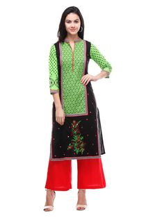 Shopo.in : Buy S Black Embroidered Cotton Cambrick Kurtis online at best price in New Delhi, India